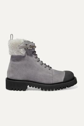 Valentino Garavani Rockstud 35 Shearling-trimmed Suede Ankle Boots - Light gray