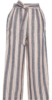Frame Cropped Belted Striped Linen Wide-leg Pants