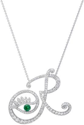 Tabayer Eye 18K White Gold, Diamond & Emerald Romantic Pendant Necklace