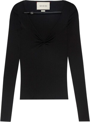 Gucci Leather-Trimmed Ruched Top