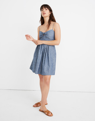Madewell Chambray Tie-Front Cutout Cami Dress
