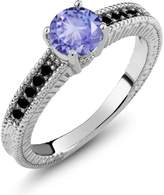 Gem Stone King 1.07 Ct Round Blue Tanzanite Black Diamond 14K White Gold Engagement Ring