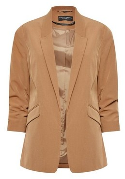 Dorothy Perkins Womens Camel Ruched Sleeve Jacket