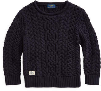 Ralph Lauren Childrenswear Boy's Aran Cable Knit Sweater, Size 5-7
