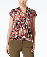 Kasper Petite Printed V-Neck Top