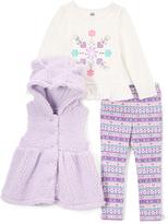 Kids Headquarters Purple & White Hooded Vest Set - Girls
