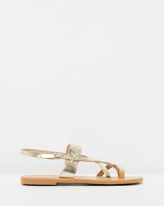 Ammos - Women's Gold Strappy sandals - Myrto Sandals - Size One Size, 36 at The Iconic