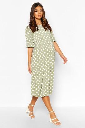 boohoo Maternity Midi Polka Dot Dress