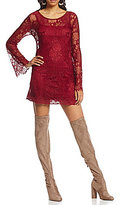 Band of Gypsies Crew Neck Bell Sleeve Lace Dress