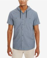 Kenneth Cole Reaction Men's Hooded Chambray Cotton Shirt