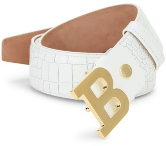 Bally B Buckle Croc-Embossed Leather Belt