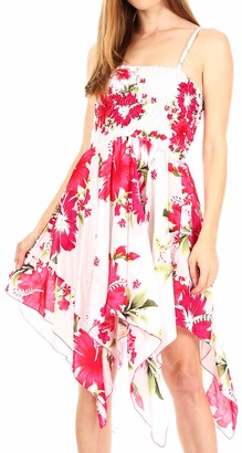 Sakkas TH355 - Kiera Women's Tube Spaghetti Strap Floral Print Summer Casual Short Dress - B-Blue - OS