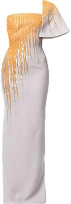 Saiid Kobeisy Sequin-Embellished One-Shoulder Gown