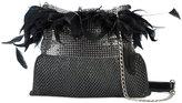 Laura B light feather trim shoulder bag
