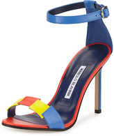 Manolo Blahnik Dariusha Colorblock Leather 105mm Sandal, Multicolor