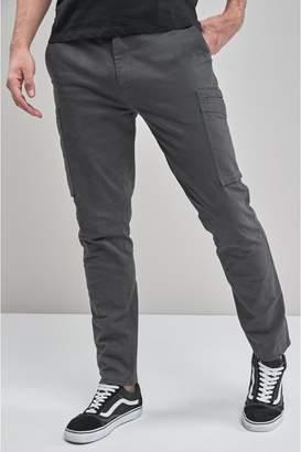 Next Mens Grey Slim Fit Military Cargos - Grey