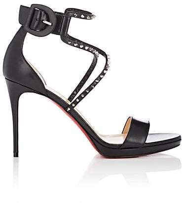 Christian Louboutin Women's Choca Studded Leather Platform Sandals - Black, Silver