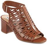 Karl Lagerfeld Paris Stack Perforated Leather Slingback Heels