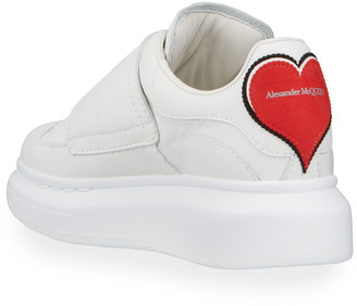 Alexander McQueen Logo Heart Patch Leather Grip-Strap Sneakers, Toddler/Kids