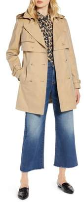 Halogen Double Breasted Trench Coat with Removable Hood