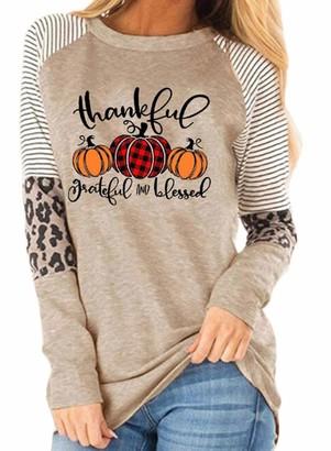 CORAFRITZ Womens Letter Print Sweatshirt Halloween Pumpkin Print Pullover Crewneck Stripe Leopard Stitching Pullover Khaki M