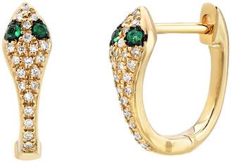 Zoe Lev Jewelry 14k Diamond Snake Huggie Earrings