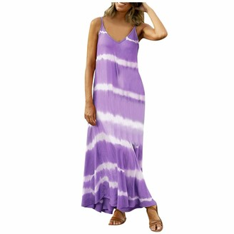 Buyao Women's Summer Casual Plus Size Dresses Bohemian Spaghetti Strap Tie Dye Long Maxi Dress Sleeveless Tank Dresses Purple