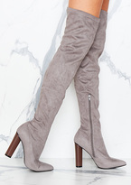 Missy Empire Viven Grey Suede Knee High Heeled Boots
