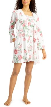 Charter Club Lace-Trim Nightgown & Robe Set, Created for Macy's