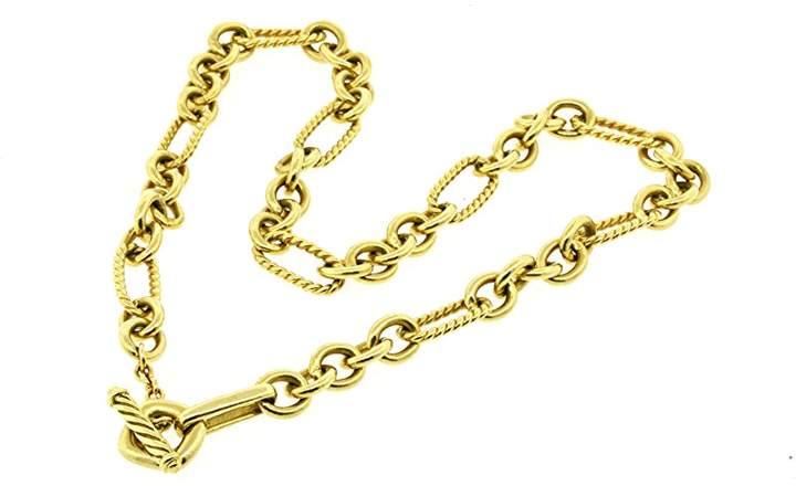 David Yurman 18K Yellow Gold Figaro Link Chain Necklace