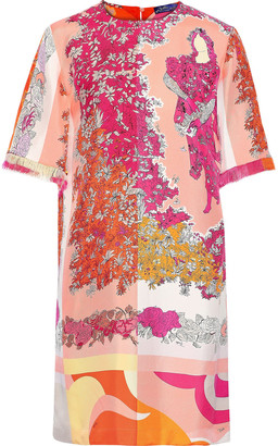 Emilio Pucci Fringe-trimmed Floral-print Silk-twill Mini Dress