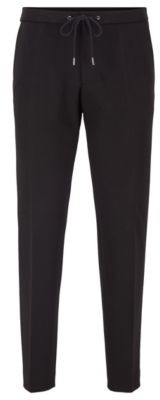 BOSS Slim-fit trousers in stretch fabric with elasticated waist