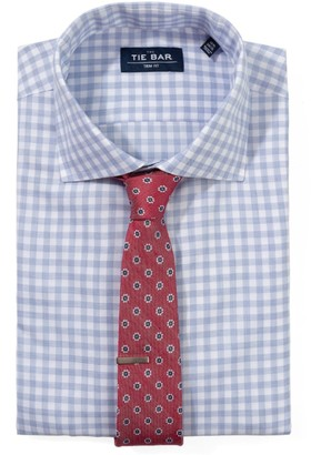The Tie Bar Light Blue Heathered Gingham Non-Iron Shirt