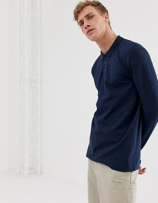 Selected long sleeve polo shirt in organic cotton-Navy