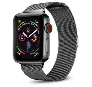 Posh Tech Men's and Women's Apple Black Stainless Steel Replacement Band 40mm