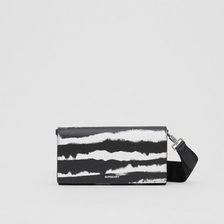 Burberry Watercolour Print Leather Wallet with Detachable Strap