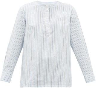 A.P.C. Nine Striped Cotton-blend Poplin Shirt - Womens - Light Blue