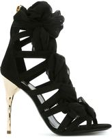 Balmain sheer detail strappy sandals - women - Cotton/Leather/Suede/Brass - 40