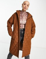 Thumbnail for your product : Brave Soul russette quilted coat in toffee brown
