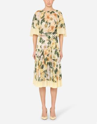 Dolce & Gabbana Camellia-Print Georgette Midi Dress With Cape Detail