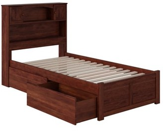 Atlantic Furniture Newport Platform Bed with Flat Panel Foot Board and 2 Urban Bed Drawers, Multiple Sizes, Multiple Colors