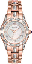 Bulova Women's Crystal Accent Rose Gold-Tone Stainless Steel Bracelet Watch 37mm 98L197