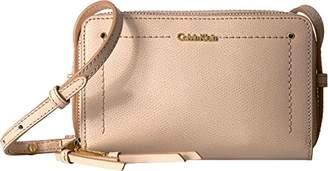 Calvin Klein womens Boxy Mercury Leather Zip Around Crossbody