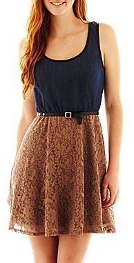 JCPenney Love Reigns Belted Denim-Lace Dress