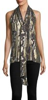 Prabal Gurung Sleeveless Tie-Neck Halter Metallic Silk Top