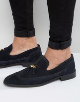 Asos Loafers In Navy Suede