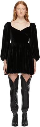 Wandering SSENSE Exclusive Black Velvet Puff Sleeve Mini Dress