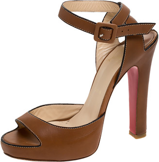 Christian Louboutin Tan Leather Ankle Strap Platform Sandals Size 38
