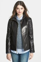 Ellen Tracy Stand Collar Leather Scuba Jacket