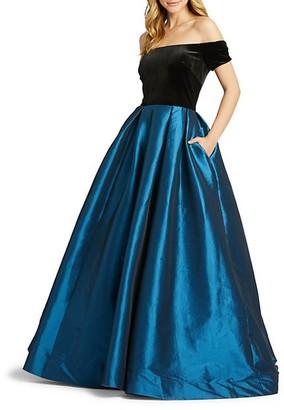 Mac Duggal Off-The-Shoulder Taffeta Ball Gown